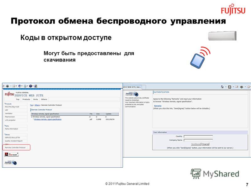 © 2011 Fujitsu General Limited Type Могут быть предоставлены для скачивания 7 Протокол обмена беспроводного управления Коды в открытом доступе