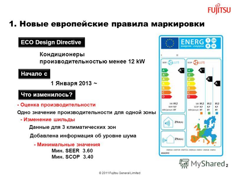 © 2011 Fujitsu General Limited 2 1. Новые европейские правила маркировки ECO Design Directive Кондиционеры производительностью менее 12 kW - Оценка производительности Начало с 1 Января 2013 ~ Что изменилось? - Изменение шильды - Минимальные значения