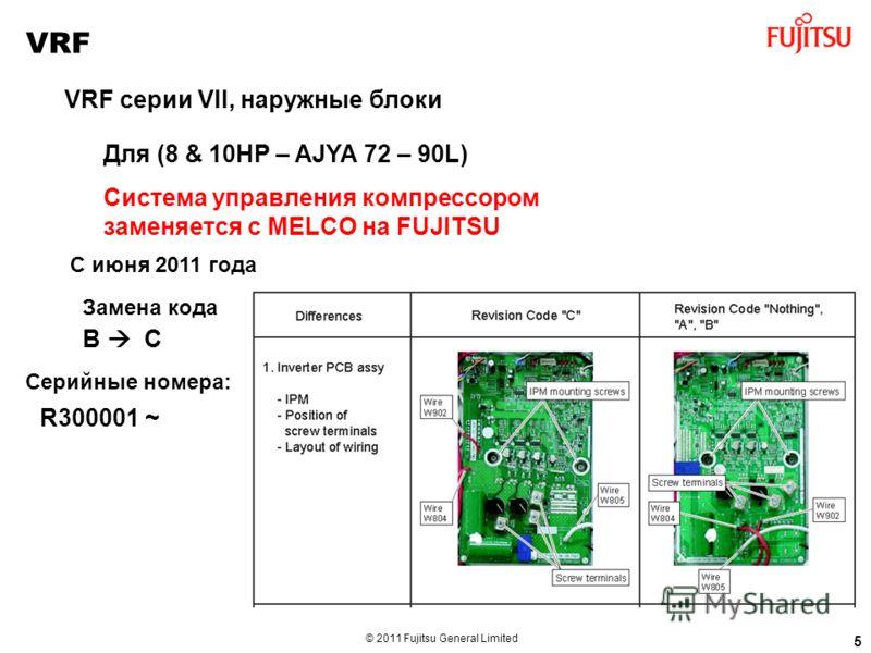 © 2011 Fujitsu General Limited Для (8 & 10HP – AJYA 72 – 90L) Система управления компрессором заменяется с MELCO на FUJITSU 5 VRF VRF серии VII, наружные блоки С июня 2011 года Замена кода B C Серийные номера: R300001 ~