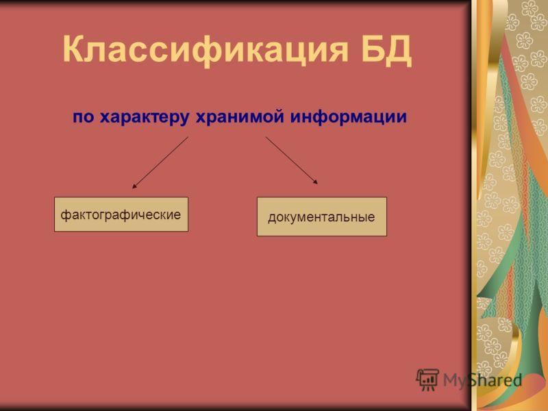 Классификация БД по характеру хранимой информации фактографические документальные