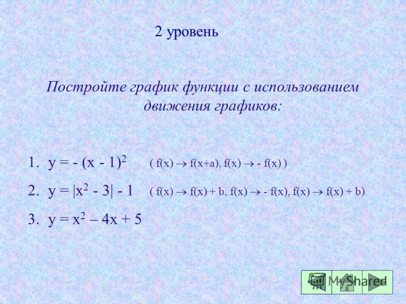 2 уровень Постройте график функции с использованием движения графиков: 1.y = - (x - 1) 2 ( f(x) f(x+a), f(x) - f(x) ) 2.y = |x 2 - 3| - 1 ( f(x) f(x) + b, f(x) - f(x), f(x) f(x) + b) 3.y = x 2 – 4х + 5