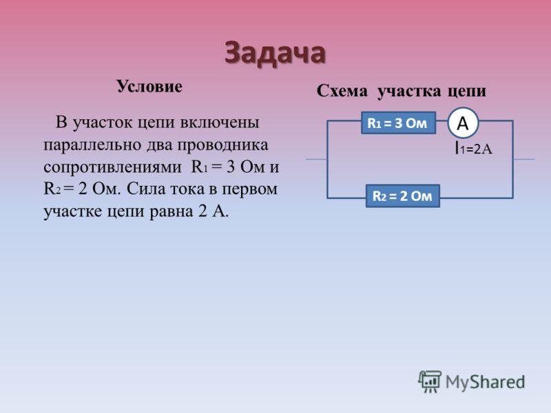 Задача Условие В участок цепи включены параллельно два проводника сопротивлениями R 1 = 3 Ом и R 2 = 2 Ом. Сила тока в первом участке цепи равна 2 А. Схема участка цепи I 1 =2 А R 1 = 3 Ом R 2 = 2 Ом А