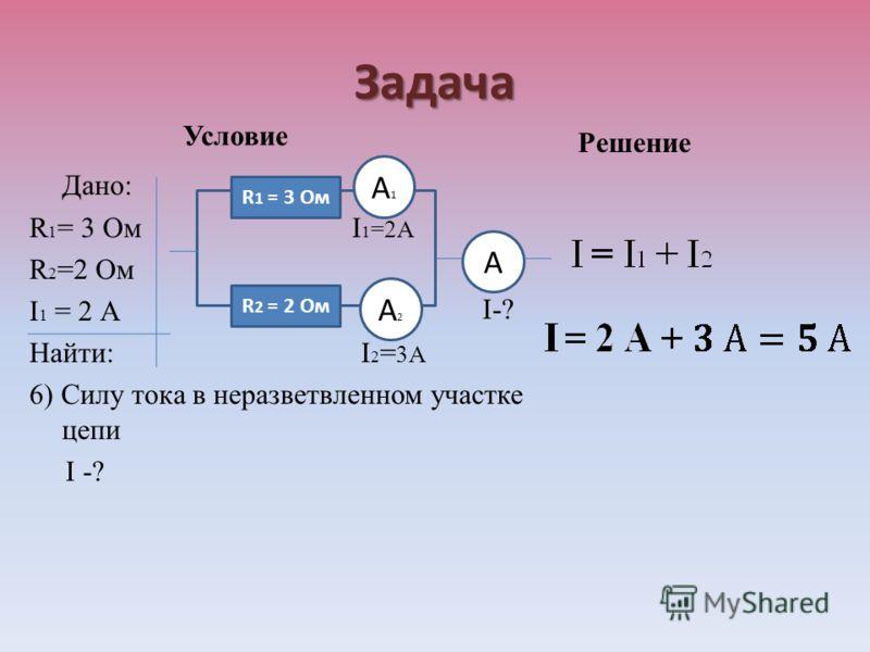 Задача Условие Дано: R 1 = 3 Ом I 1 =2А R 2 =2 Ом I 1 = 2 А Найти: I 2 = 3А 6) Силу тока в неразветвленном участке цепи I -? Решение I-? R 1 = 3 Ом R 2 = 2 Ом А1А1 А2А2 А