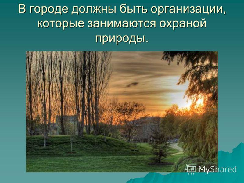 В городе должны быть организации, которые занимаются охраной природы.