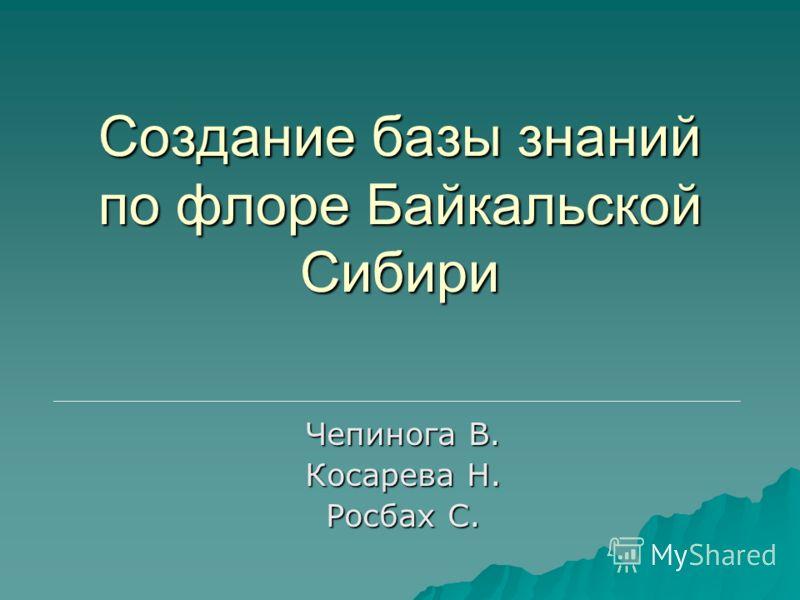 Создание базы знаний по флоре Байкальской Сибири Чепинога В. Косарева Н. Росбах С.