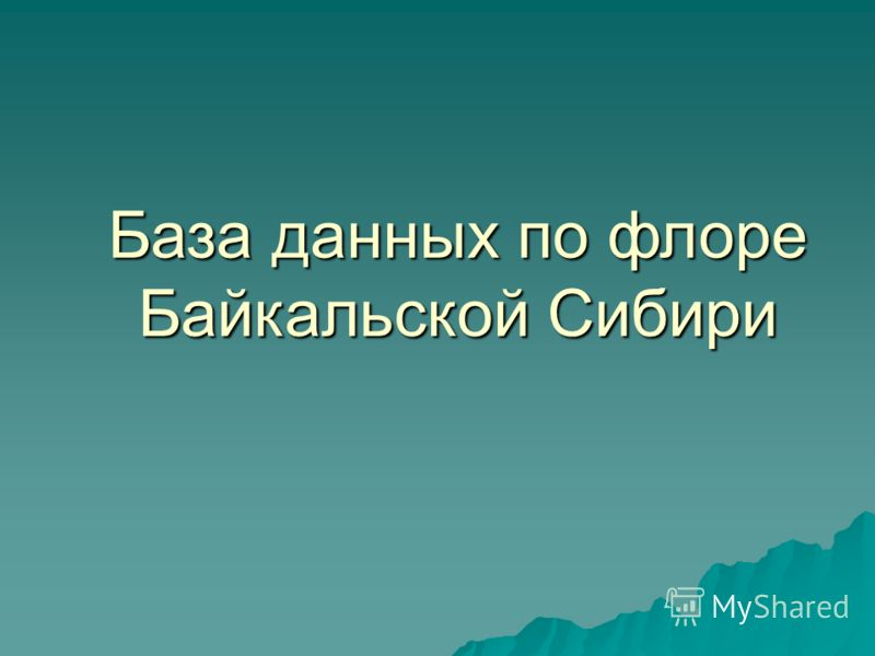 База данных по флоре Байкальской Сибири