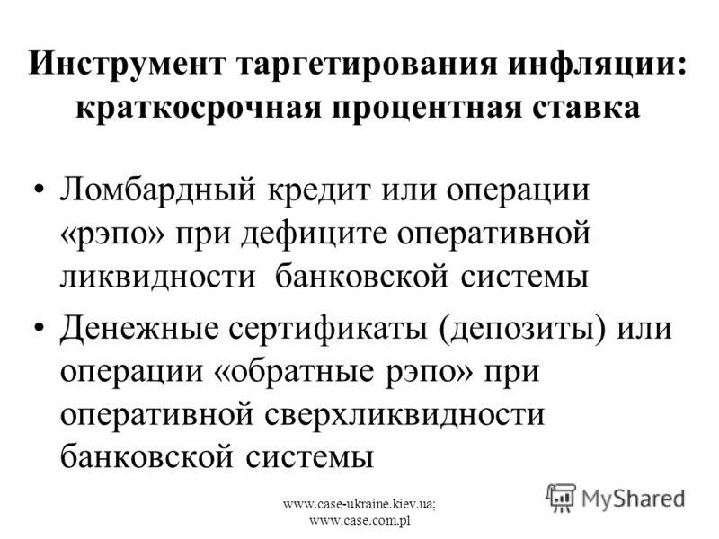 www.case-ukraine.kiev.ua; www.case.com.pl Инструмент таргетирования инфляции: краткосрочная процентная ставка Ломбардный кредит или операции «рэпо» при дефиците оперативной ликвидности банковской системы Денежные сертификаты (депозиты) или операции «