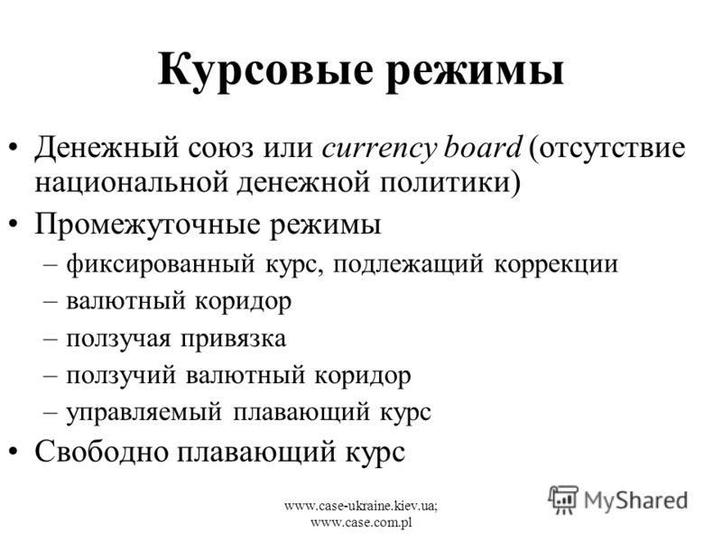 www.case-ukraine.kiev.ua; www.case.com.pl Курсовые режимы Денежный союз или currency board (отсутствие национальной денежной политики) Промежуточные режимы –фиксированный курс, подлежащий коррекции –валютный коридор –ползучая привязка –ползучий валют