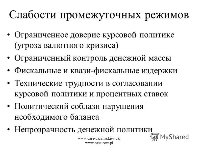 www.case-ukraine.kiev.ua; www.case.com.pl Слабости промежуточных режимов Ограниченное доверие курсовой политике (угроза валютного кризиса) Ограниченный контроль денежной массы Фискальные и квази-фискальные издержки Технические трудности в согласовани