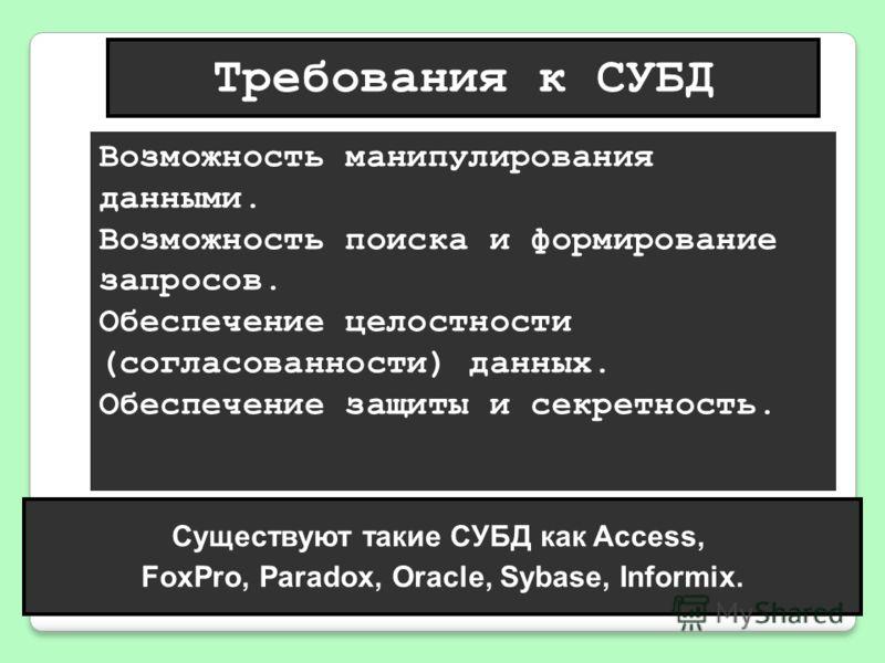 Требования к СУБД Существуют такие СУБД как Access, FoxPro, Paradox, Oracle, Sybase, Informix. Возможность манипулирования данными. Возможность поиска и формирование запросов. Обеспечение целостности (согласованности) данных. Обеспечение защиты и сек