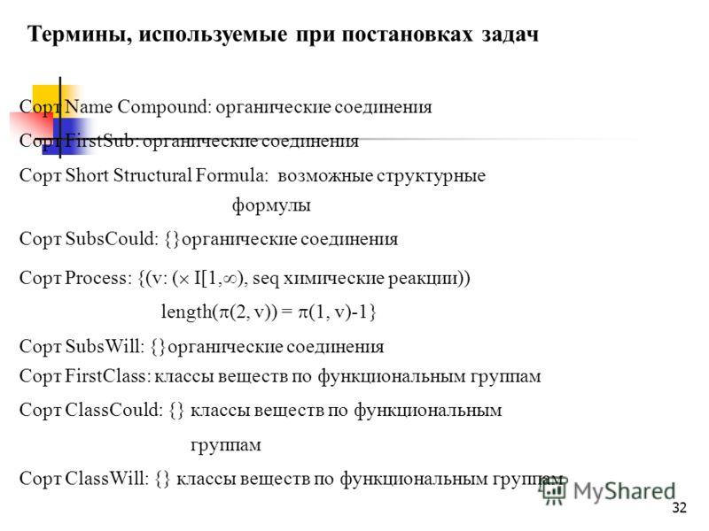 32 Термины, используемые при постановках задач Сорт Name Compound: органические соединения Сорт FirstSub: органические соединения Сорт Short Structural Formula: возможные структурные формулы Сорт SubsCould: {}органические соединения Сорт Process: {(v