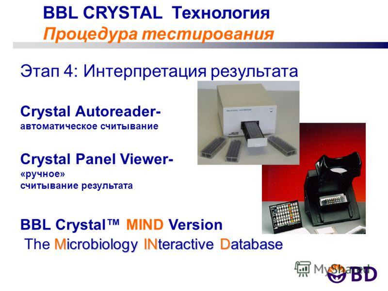 BBL CRYSTAL Технология Процедура тестирования Этап 4: Интерпретация результата Crystal Autoreader- автоматическое считывание Crystal Panel Viewer- «ручное» считывание результата BBL Crystal MIND Version Microbiology INteractive Database The Microbiol