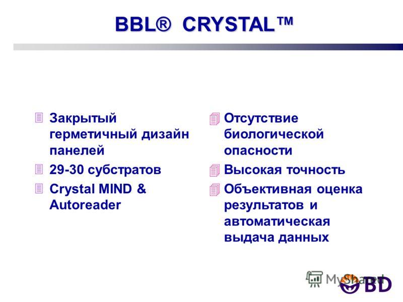 BBL® CRYSTAL 3Закрытый герметичный дизайн панелей 329-30 субстратов 3Crystal MIND & Autoreader 4Отсутствие биологической опасности 4Высокая точность 4Объективная оценка результатов и автоматическая выдача данных