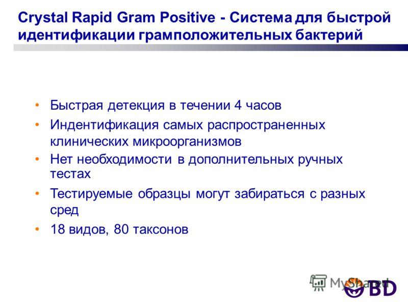 Crystal Rapid Gram Positive - Система для быстрой идентификации грамположительных бактерий Быстрая детекция в течении 4 часов Индентификация самых распространенных клинических микроорганизмов Нет необходимости в дополнительных ручных тестах Тестируем