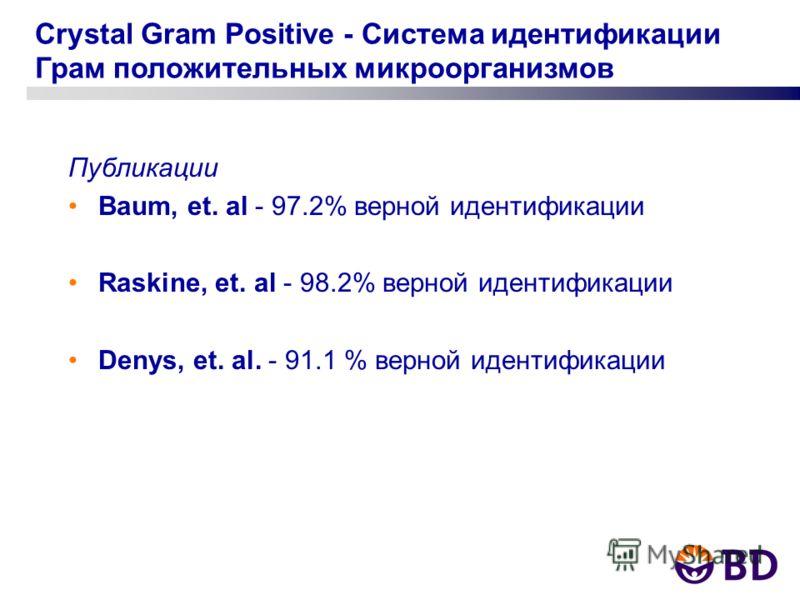 Crystal Gram Positive - Система идентификации Грам положительных микроорганизмов Публикации Baum, et. al - 97.2% верной идентификации Raskine, et. al - 98.2% верной идентификации Denys, et. al. - 91.1 % верной идентификации