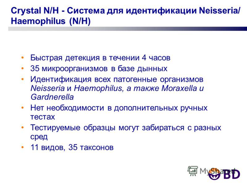 Crystal N/H - Система для идентификации Neisseria/ Haemophilus (N/H) Быстрая детекция в течении 4 часов 35 микроорганизмов в базе дынных Идентификация всех патогенные организмов Neisseria и Haemophilus, а также Moraxella и Gardnerella Нет необходимос