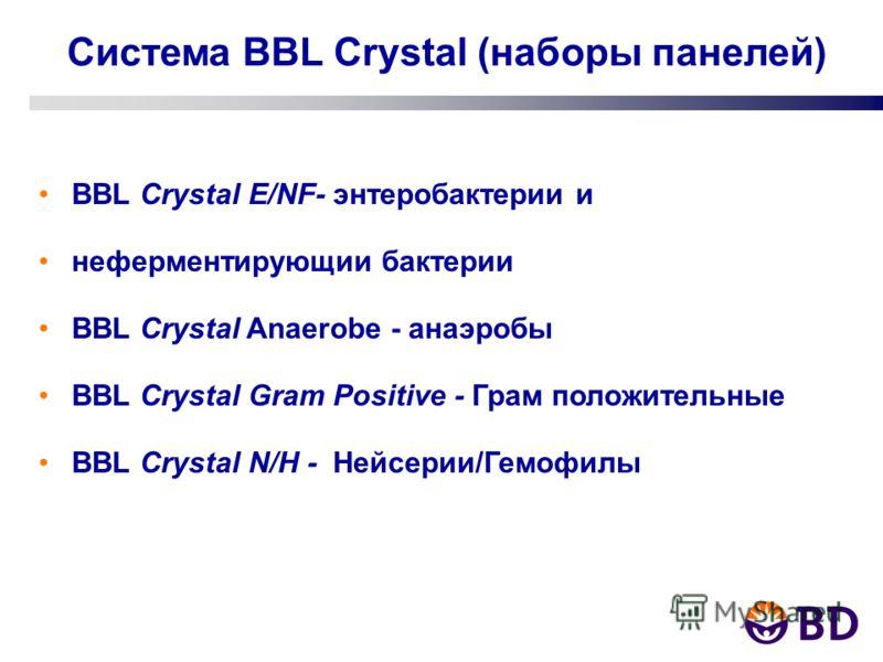 Система BBL Crystal (наборы панелей) BBL Crystal E/NF- энтеробактерии и неферментирующии бактерии BBL Crystal Anaerobe - анаэробы BBL Crystal Gram Positive - Грам положительные BBL Crystal N/H - Нейсерии/Гемофилы