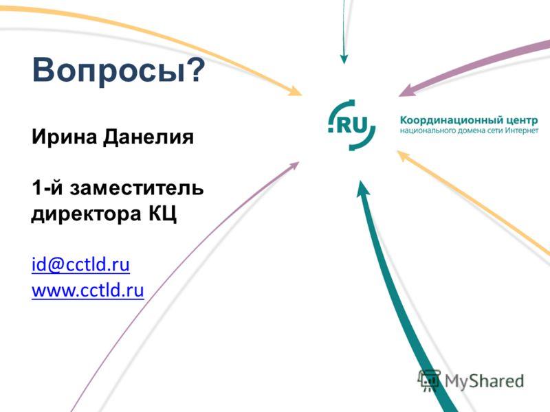 Вопросы? Ирина Данелия 1-й заместитель директора КЦ id@cctld.ru www.cctld.ru id@cctld.ru www.cctld.ru