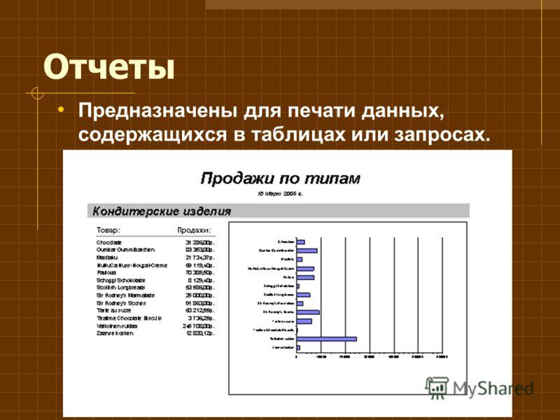 Отчеты Предназначены для печати данных, содержащихся в таблицах или запросах.