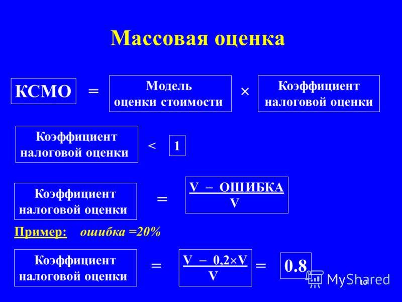 13 Массовая оценка КСМО Модель оценки стоимости = × Коэффициент налоговой оценки Коэффициент налоговой оценки < 1 Коэффициент налоговой оценки = V ОШИБКА V = V 0,2 V V = 0.8 Пример: Коэффициент налоговой оценки ошибка =20%