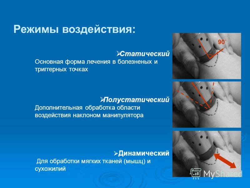 Статический Основная форма лечения в болезненых и триггерных точках Полустатический Дополнительная обработка области воздействия наклоном манипулятора Динамический Для обработки мягких тканей (мышц) и сухожилий Режимы воздействия: ) 90˚