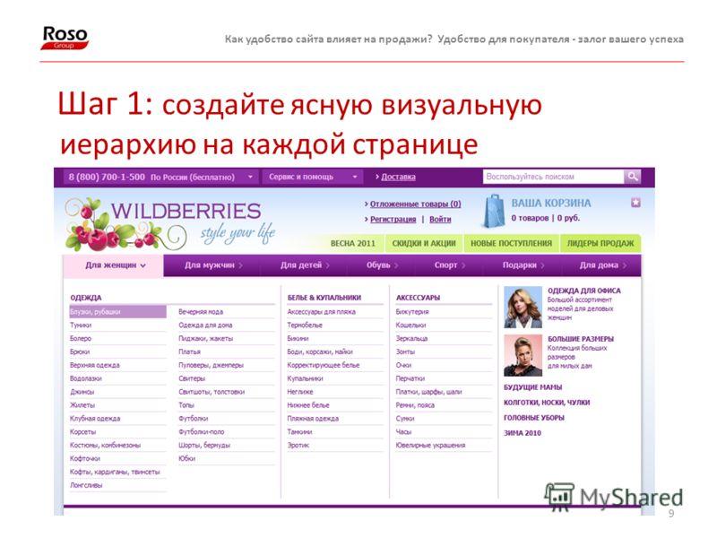 9 Как удобство сайта влияет на продажи? Удобство для покупателя - залог вашего успеха Шаг 1: создайте ясную визуальную иерархию на каждой странице