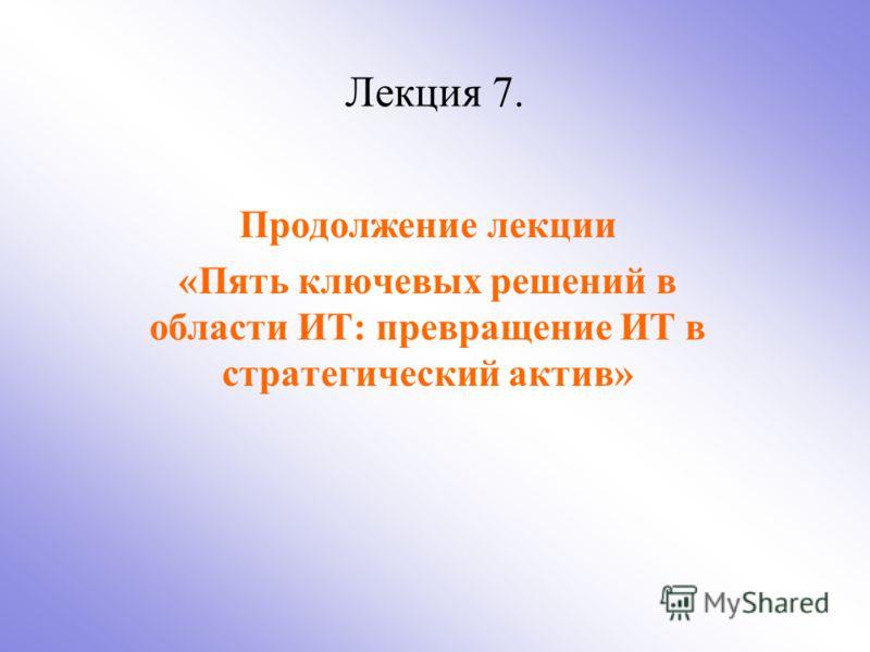 Лекция 7. Продолжение лекции «Пять ключевых решений в области ИТ: превращение ИТ в стратегический актив»