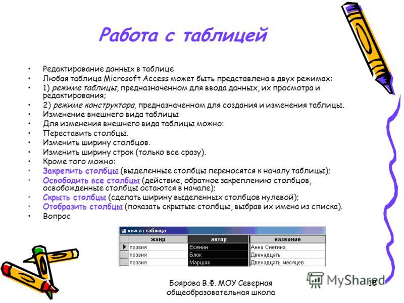 Боярова В.Ф. МОУ Северная общеобразовательная школа 18 Работа с таблицей Редактирование данных в таблице Любая таблица Microsoft Access может быть представлена в двух режимах: 1) режиме таблицы, предназначенном для ввода данных, их просмотра и редакт