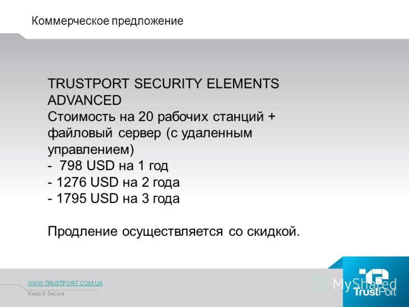 Коммерческое предложение WWW.TRUSTPORT.COM.UA Keep It Secure TRUSTPORT SECURITY ELEMENTS ADVANCED Стоимость на 20 рабочих станций + файловый сервер (с удаленным управлением) - 798 USD на 1 год - 1276 USD на 2 года - 1795 USD на 3 года Продление осуще