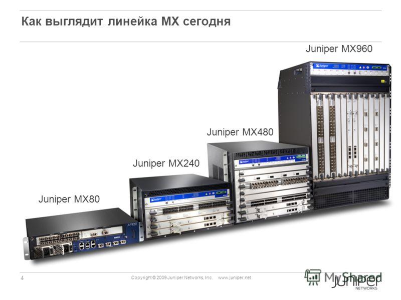 4 Copyright © 2009 Juniper Networks, Inc. www.juniper.net Как выглядит линейка МХ сегодня Juniper MX960 Juniper MX480 Juniper MХ240 Juniper MX80