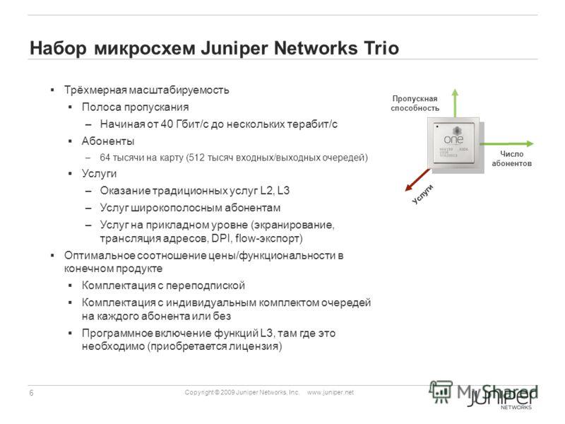 6 Copyright © 2009 Juniper Networks, Inc. www.juniper.net Набор микросхем Juniper Networks Trio Трёхмерная масштабируемость Полоса пропускания –Начиная от 40 Гбит/с до нескольких терабит/c Абоненты –64 тысячи на карту (512 тысяч входных/выходных очер