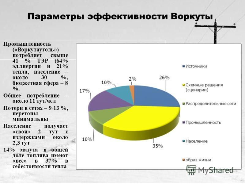 3 Параметры эффективности Воркуты Промышленность («Воркутауголь») потребляет свыше 41 % ТЭР (64% эл.энергии и 21% тепла, население – около 30 %, бюджетная сфера – 8 %. Общее потребление – около 11 тут/чел Потери в сетях – 9-13 %, перетопы минимальны