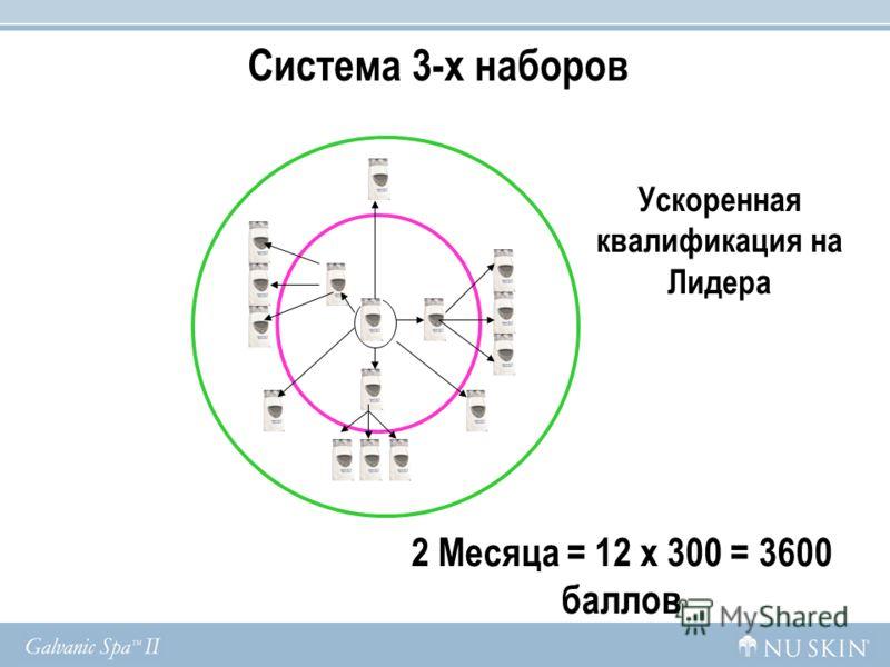2 Месяца = 12 x 300 = 3600 баллов Ускоренная квалификация на Лидера Система 3-х наборов