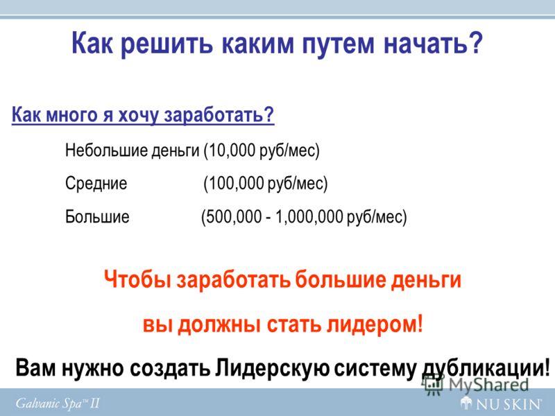 Как решить каким путем начать? Как много я хочу заработать? Небольшие деньги (10,000 руб/мес) Средние (100,000 руб/мес) Большие (500,000 - 1,000,000 руб/мес) Чтобы заработать большие деньги вы должны стать лидером! Вам нужно создать Лидерскую систему