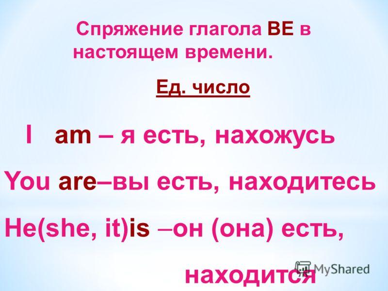 Спряжение глагола BE в настоящем времени. Ед. число I am – я есть, нахожусь You are–вы есть, находитесь He(she, it)is –он (она) есть, находится