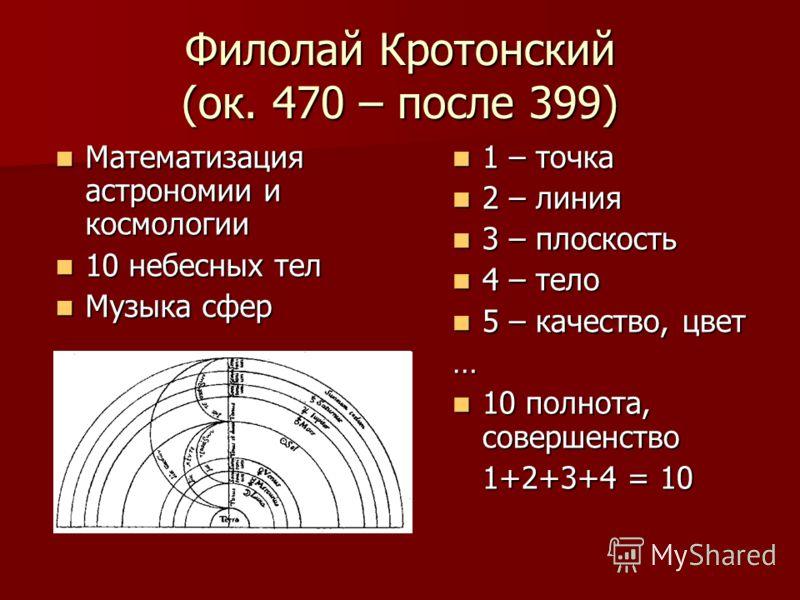 Филолай Кротонский (ок. 470 – после 399) Математизация астрономии и космологии Математизация астрономии и космологии 10 небесных тел 10 небесных тел Музыка сфер Музыка сфер 1 – точка 1 – точка 2 – линия 2 – линия 3 – плоскость 3 – плоскость 4 – тело