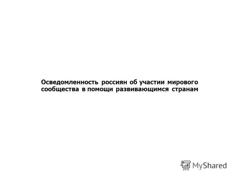 Осведомленность россиян об участии мирового сообщества в помощи развивающимся странам Отношение россиян к участию РФ в оказании помощи развивающимся странам