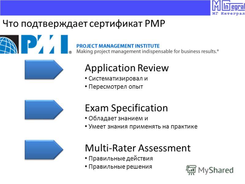 Application Review Систематизировал и Пересмотрел опыт Exam Specification Обладает знанием и Умеет знания применять на практике Что подтверждает сертификат PMP Multi-Rater Assessment Правильные действия Правильные решения