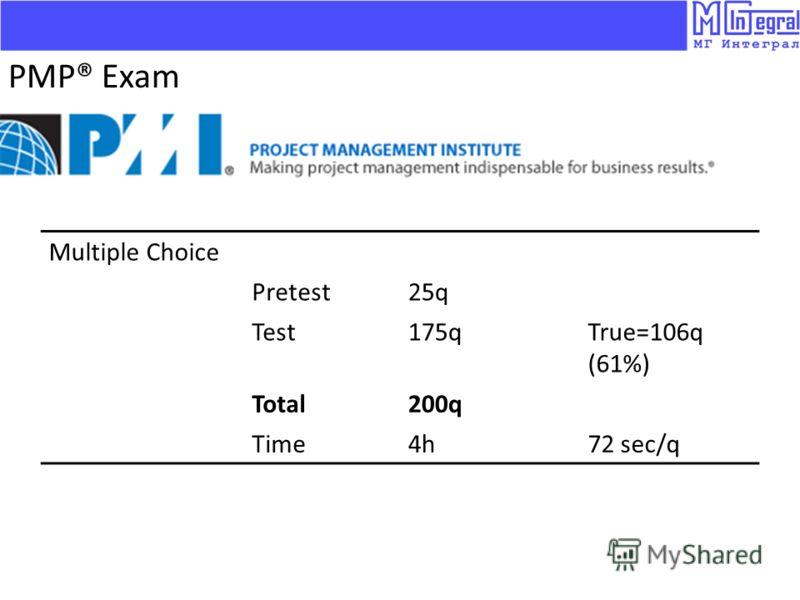 Multiple Choice Pretest25q Test175qTrue=106q (61%) Total200q Time4h72 sec/q PMP® Exam