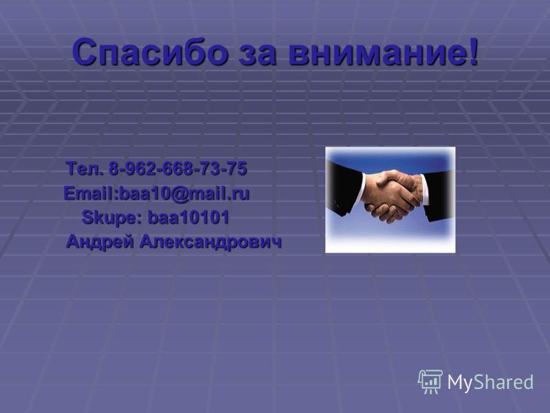 Спасибо за внимание! Тел. 8-962-668-73-75 Email:baa10@mail.ru Skupe: baa10101 Андрей Александрович Андрей Александрович