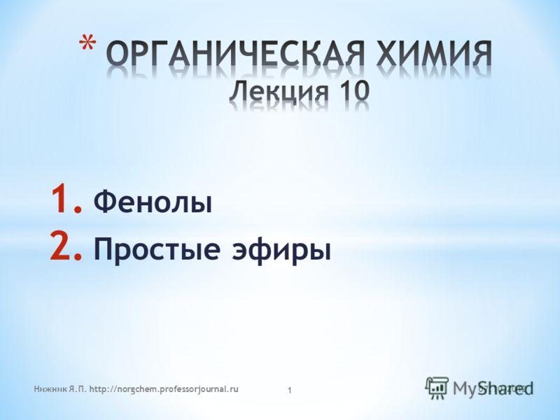 1. Фенолы 2. Простые эфиры 06.08.2012Нижник Я.П. http://norgchem.professorjournal.ru 1