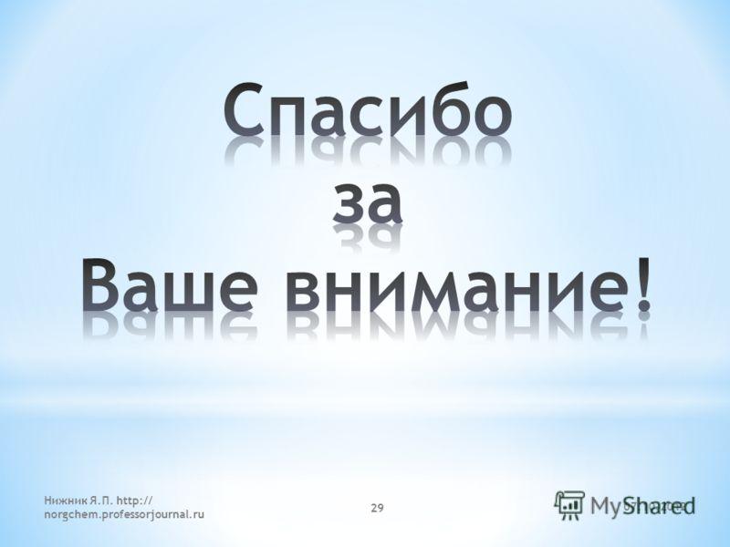 06.08.2012 Нижник Я.П. http:// norgchem.professorjournal.ru 29