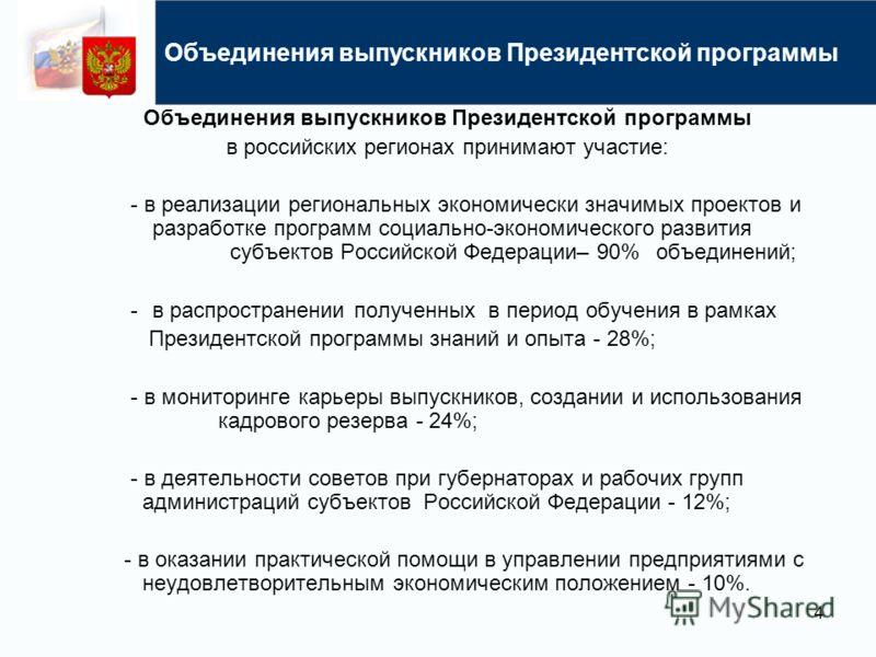 Объединения выпускников Президентской программы в российских регионах принимают участие: - в реализации региональных экономически значимых проектов и разработке программ социально-экономического развития субъектов Российской Федерации– 90% объединени