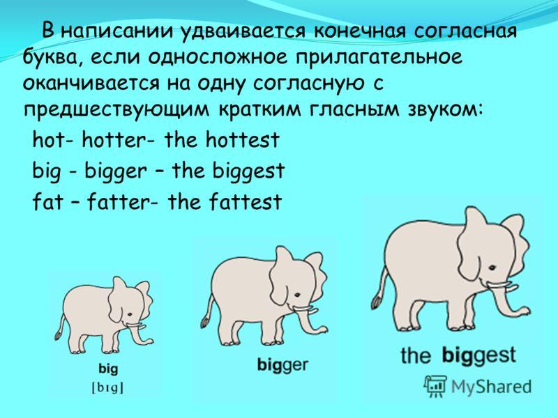 В написании удваивается конечная согласная буква, если односложное прилагательное оканчивается на одну согласную с предшествующим кратким гласным звуком: hot- hotter- the hottest big - bigger – the biggest fat – fatter- the fattest