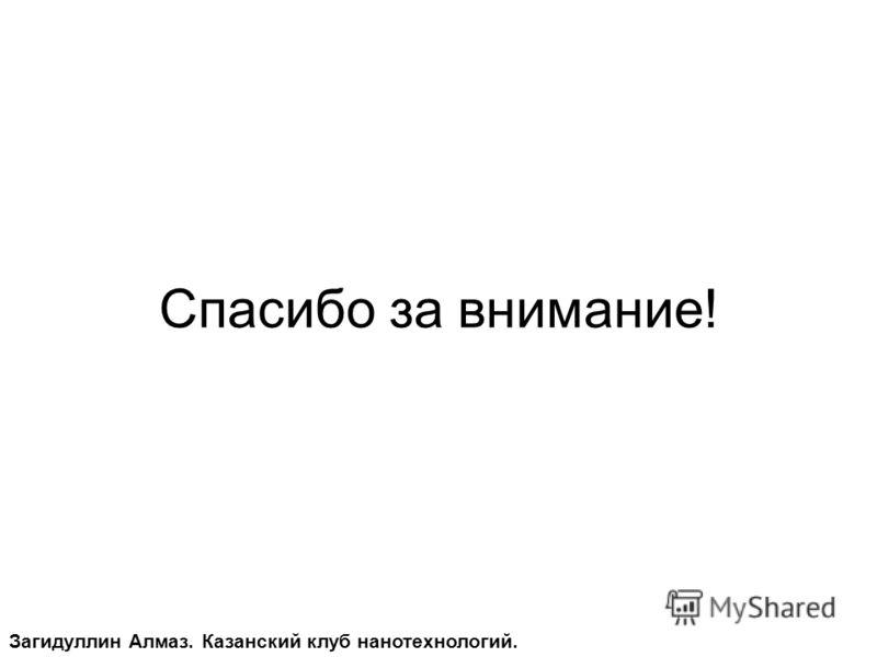 Спасибо за внимание! Загидуллин Алмаз. Казанский клуб нанотехнологий.