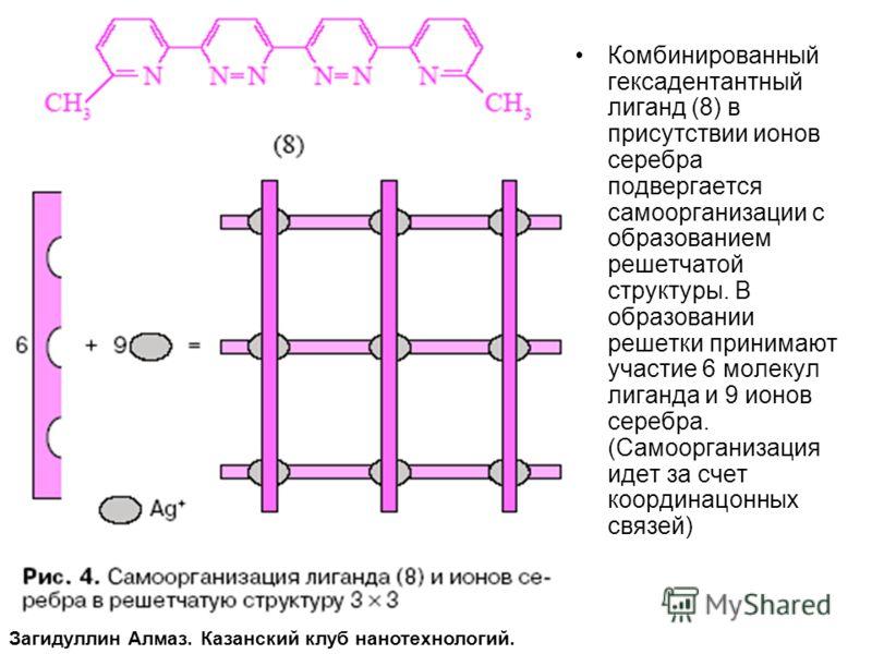 Комбинированный гексадентантный лиганд (8) в присутствии ионов серебра подвергается самоорганизации с образованием решетчатой структуры. В образовании решетки принимают участие 6 молекул лиганда и 9 ионов серебра. (Самоорганизация идет за счет коорди