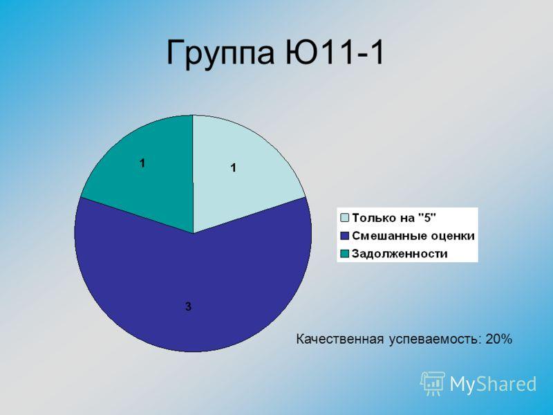 Группа Ю11-1 Качественная успеваемость: 20%