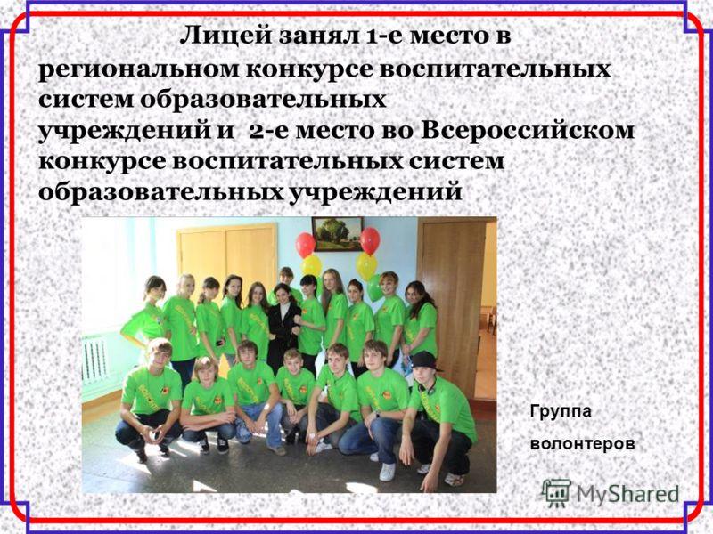Лицей занял 1-е место в региональном конкурсе воспитательных систем образовательных учреждений и 2-е место во Всероссийском конкурсе воспитательных систем образовательных учреждений Группа волонтеров