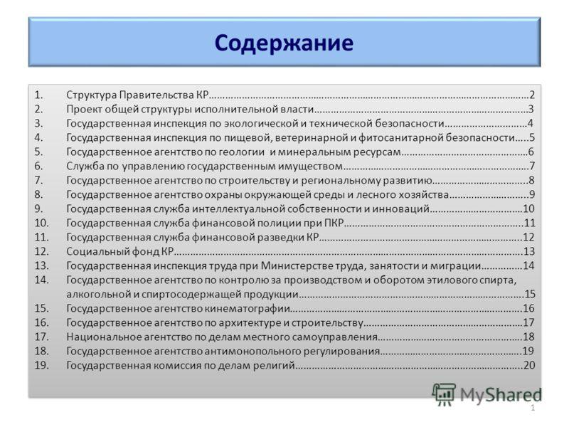 Содержание 1.Структура Правительства КР………………………………………………………………………………………………………2 2.Проект общей структуры исполнительной власти……………………………………………………………………3 3.Государственная инспекция по экологической и технической безопасности…………………………4 4.Государстве