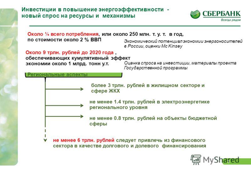2 Инвестиции в повышение энергоэффективности - новый спрос на ресурсы и механизмы Экономический потенциал экономии энергоносителей в России, оценки Mc Kinsey Около ¼ всего потребления, или около 250 млн. т. у. т. в год, по стоимости около 2 % ВВП Оце